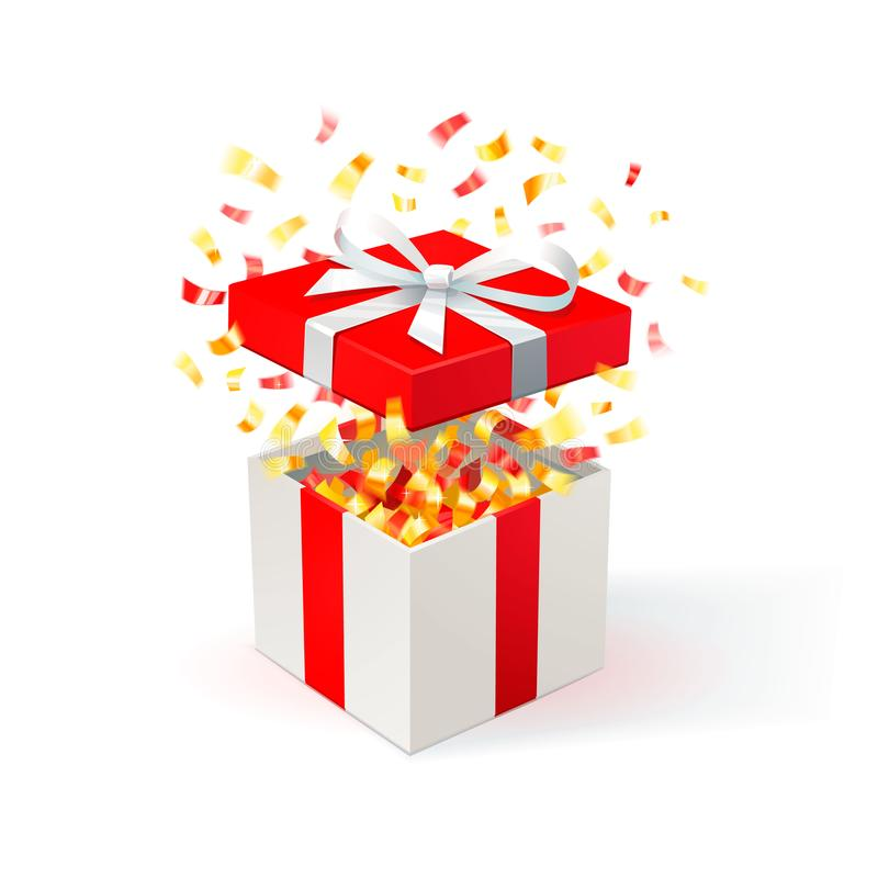White Gift Box with red cover and gold confetti. Open gift box. festive background. Free delivery, bargain, special. Offer. Vector Illustration stock illustration