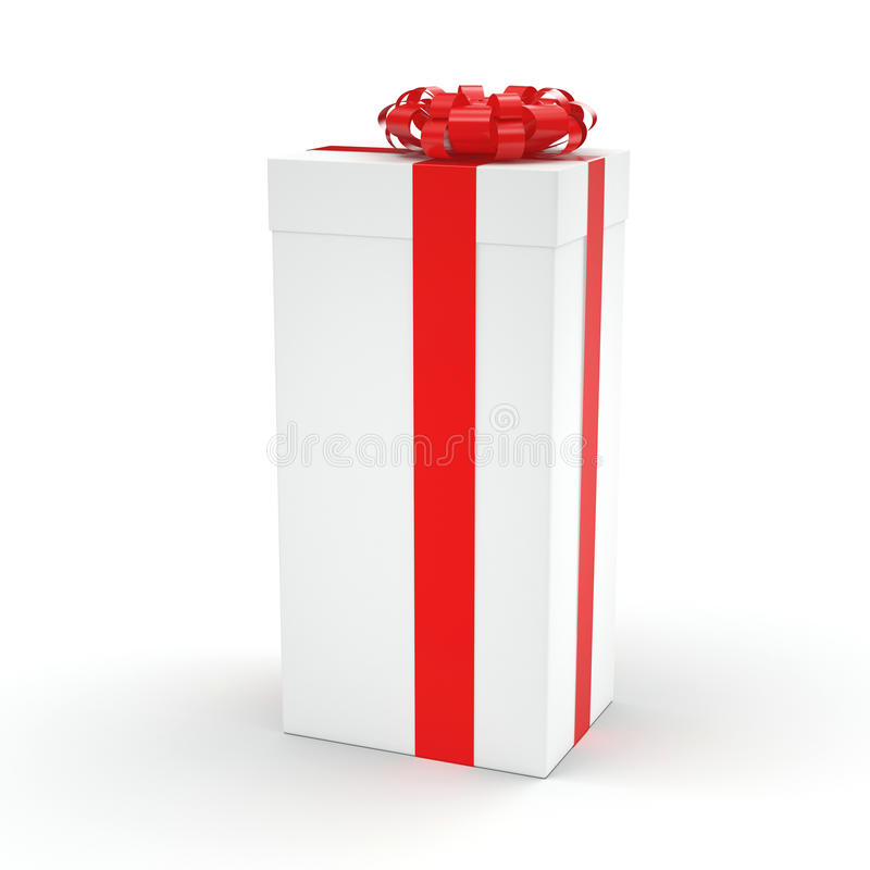 White gift box. With red ribbon bow stock illustration
