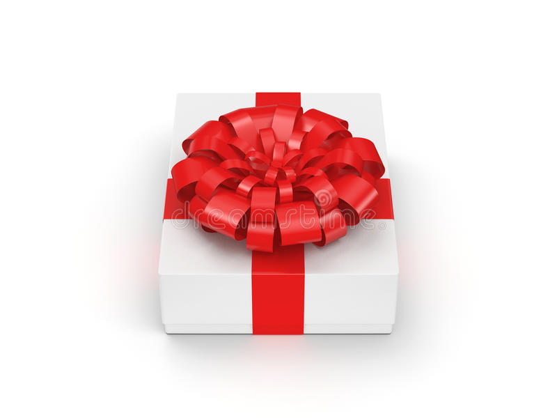 White gift box. With red ribbon bow vector illustration