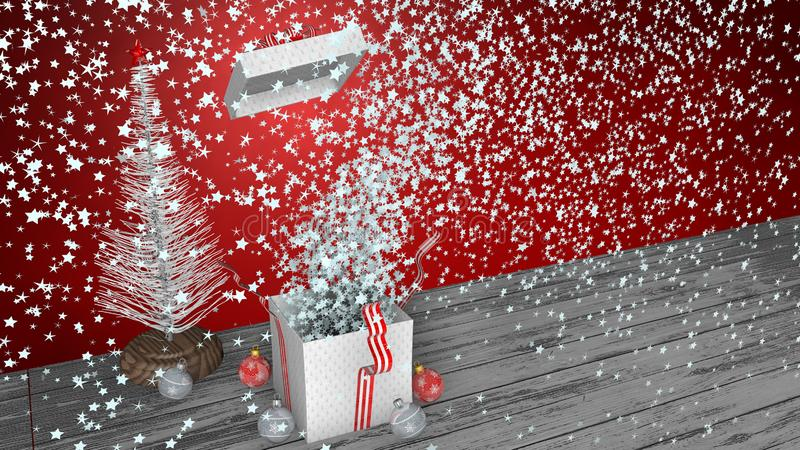 White gift box with red ribbon exploding inside a large number of white stars, the box lid flies out vector illustration