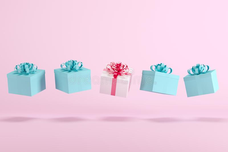 White gift box with red ribbon floating among blue gift boxes with blue ribbon on pink background for copy space. Minimal Christmas idea concept vector illustration