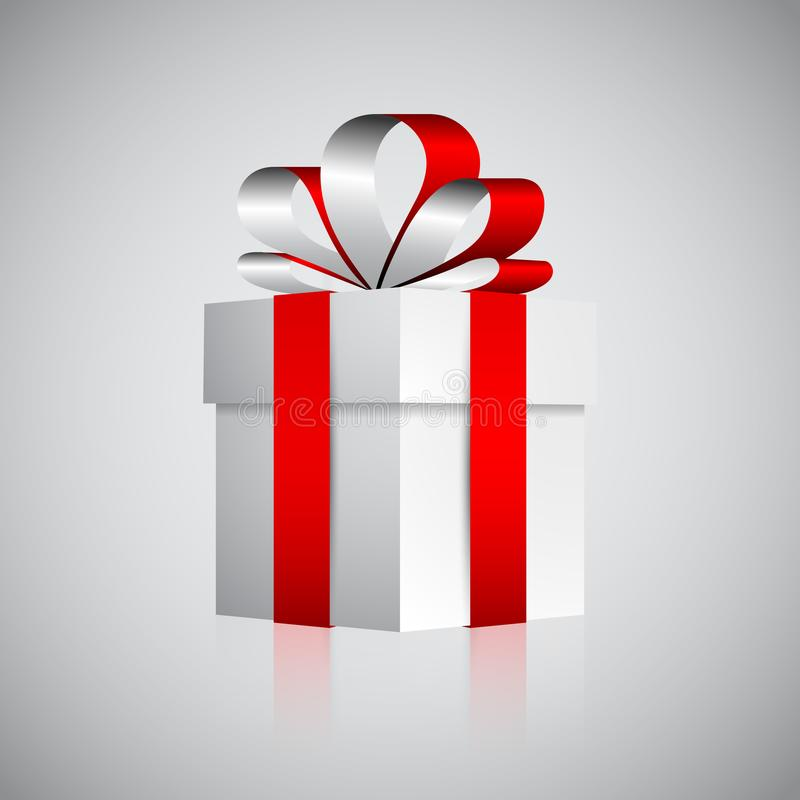 White gift box with red ribbon, valentine or Christmas present royalty free illustration