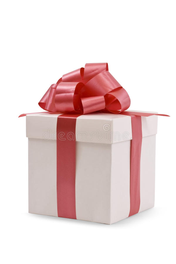 Download White Gift Box With Red Satin Ribbon Bow Stock Image - Image: 11343505