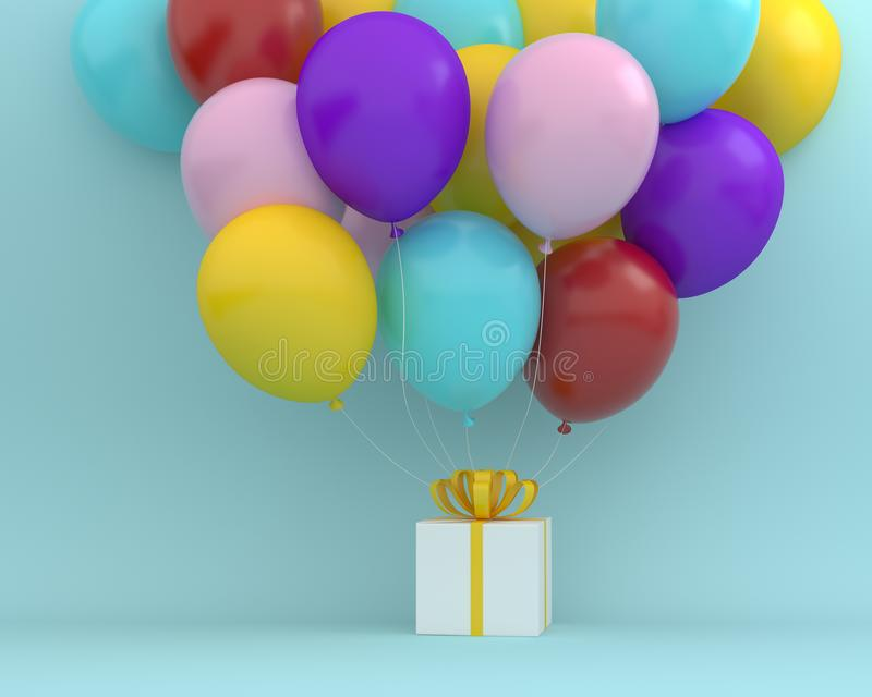 The white gift box with yellow ribbon and colorful balloons floating on blue color background. minimal merry christmas and new ye. Ar concept royalty free illustration