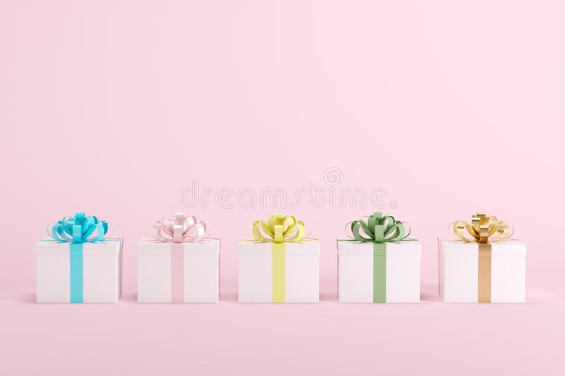 White gift boxes with colorful ribbons on pastel pink background for copy space. Christmas minimal idea concept vector illustration