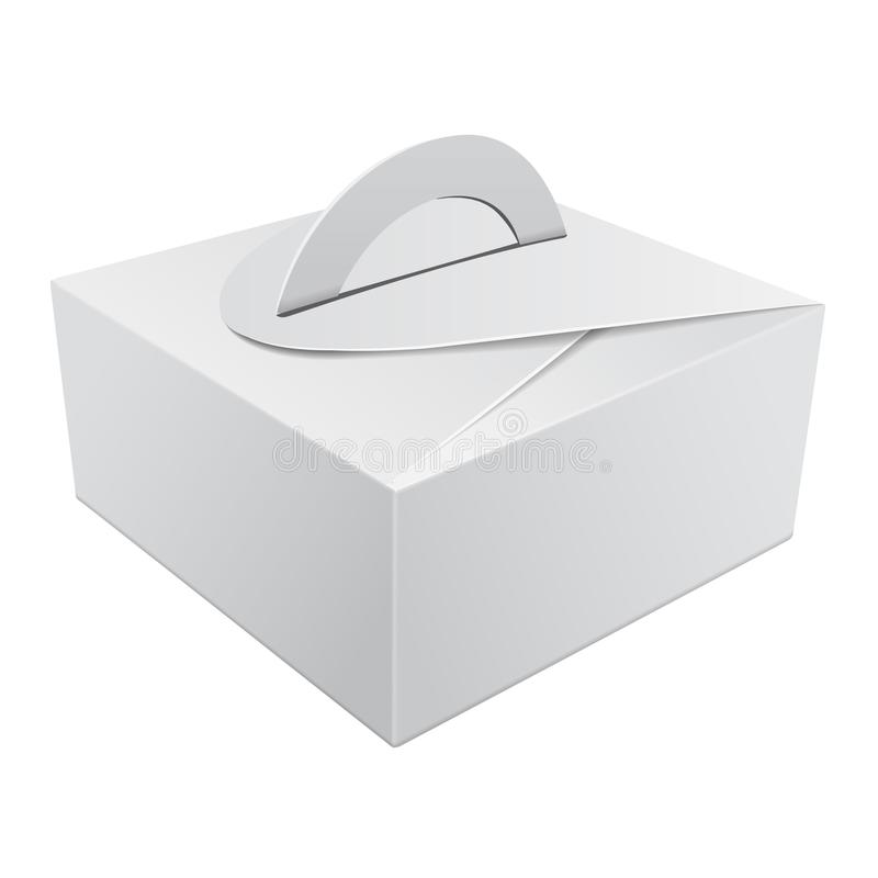 White Gift Packaging Box With Handle Mockup For Cake. Paperboard ...