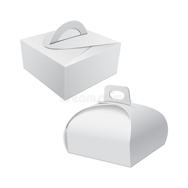 White Gift Packaging Box with Handle mockup for Cake. Set of Paperboard Packaging Container Template for Wedding Party vector illustration