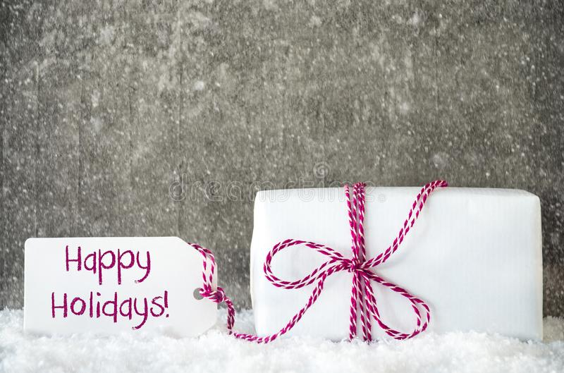 White Gift, Snow, Label, Text Happy Holidays, Snowflakes royalty free stock image