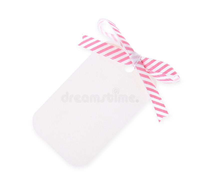 Download White Gift Tag With Diagonal Satin Ribbon Bow---with Clipping Pa Stock Photos - Image: 2051173