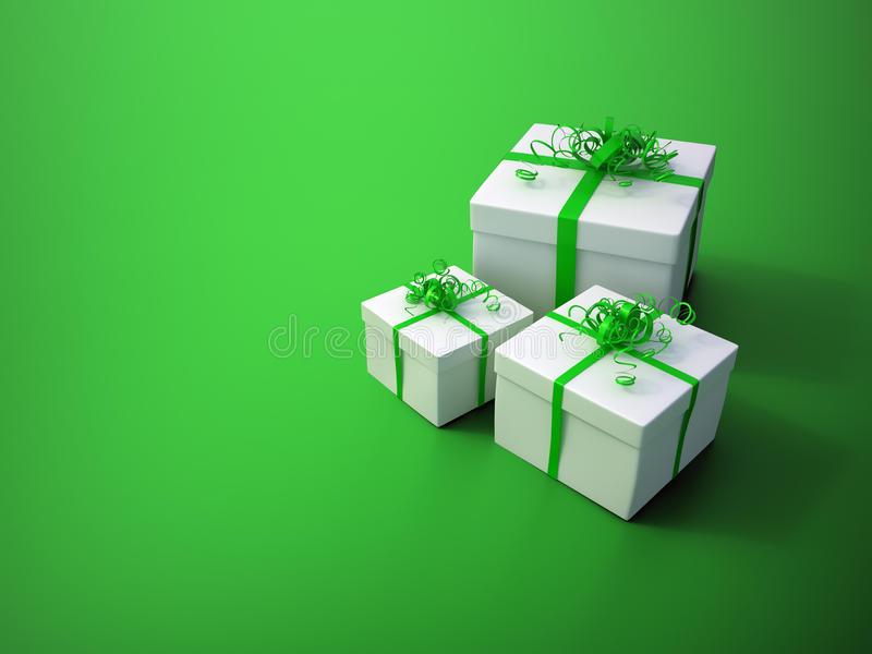 White gifts on a green background. Christmas celebration image vector illustration