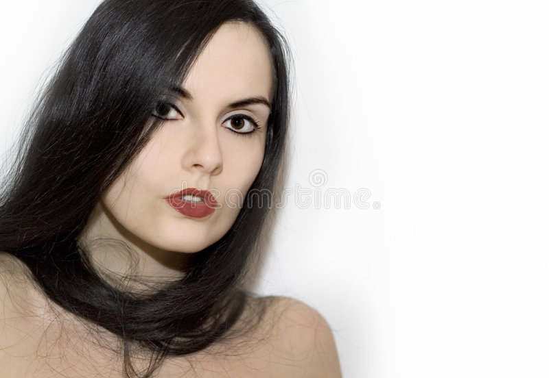 White girl with black hair. Black hair smiling girl in pin-up style. studio shot royalty free stock images