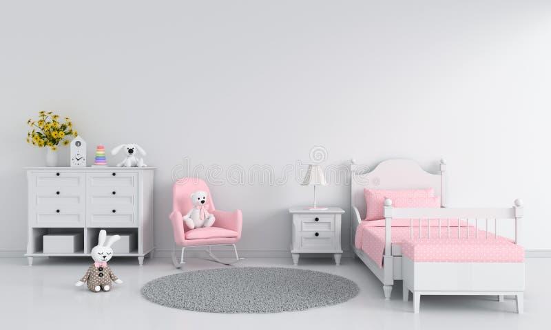 White girl child bedroom interior for mockup, 3D rendering vector illustration
