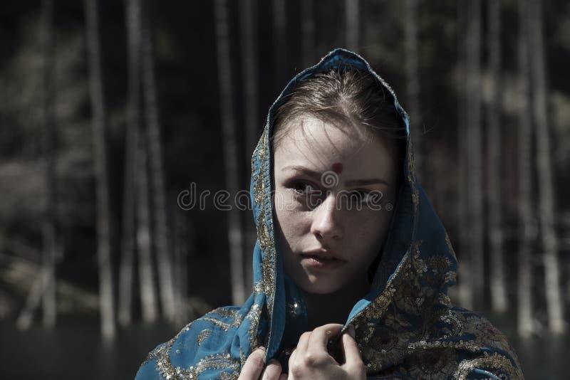 White girl in saree stock image