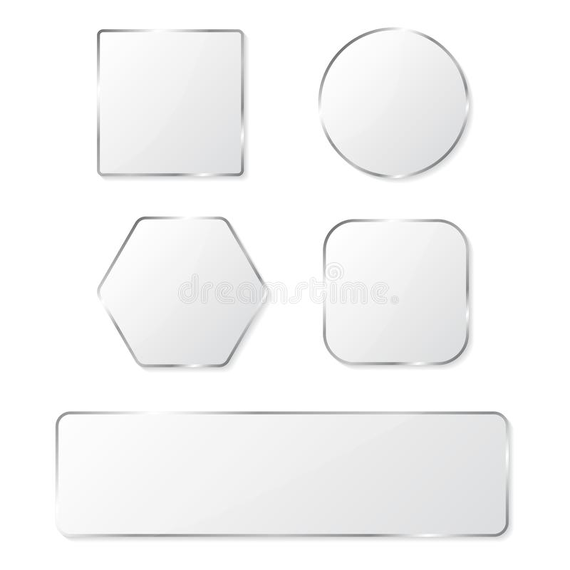 White glass buttons with chrome frame. Vector illustration royalty free illustration