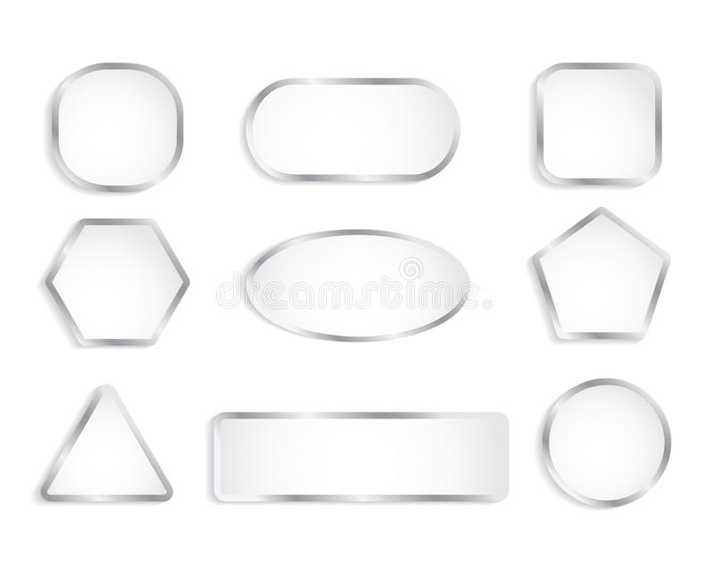 White glass buttons with chrome frame. Vector illustration vector illustration