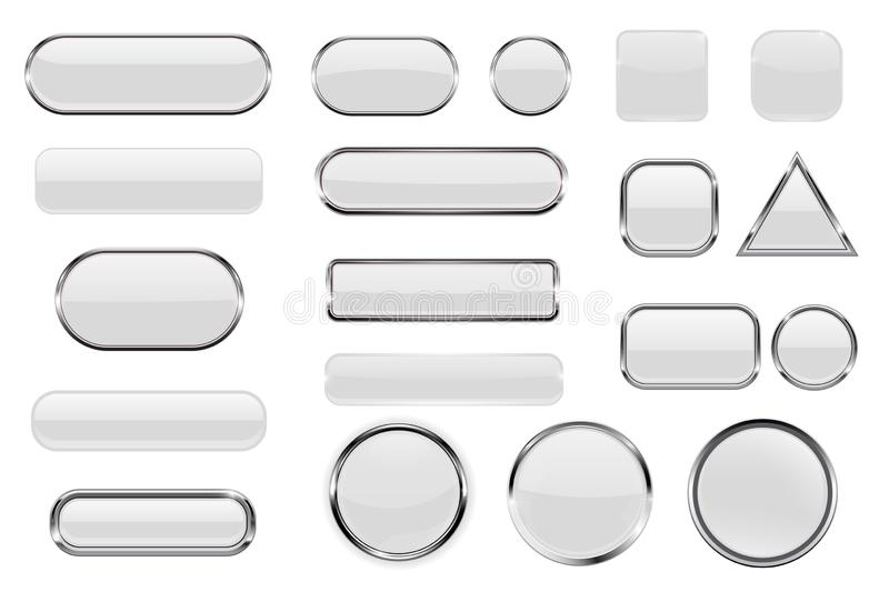 White glass buttons. Collection of 3d icons with and without chrome frame. Vector illustration isolated on white background vector illustration