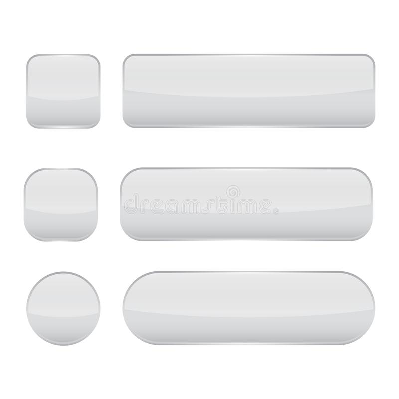 White glass buttons. Web 3d shiny icons set. Vector illustration isolated on white background stock illustration