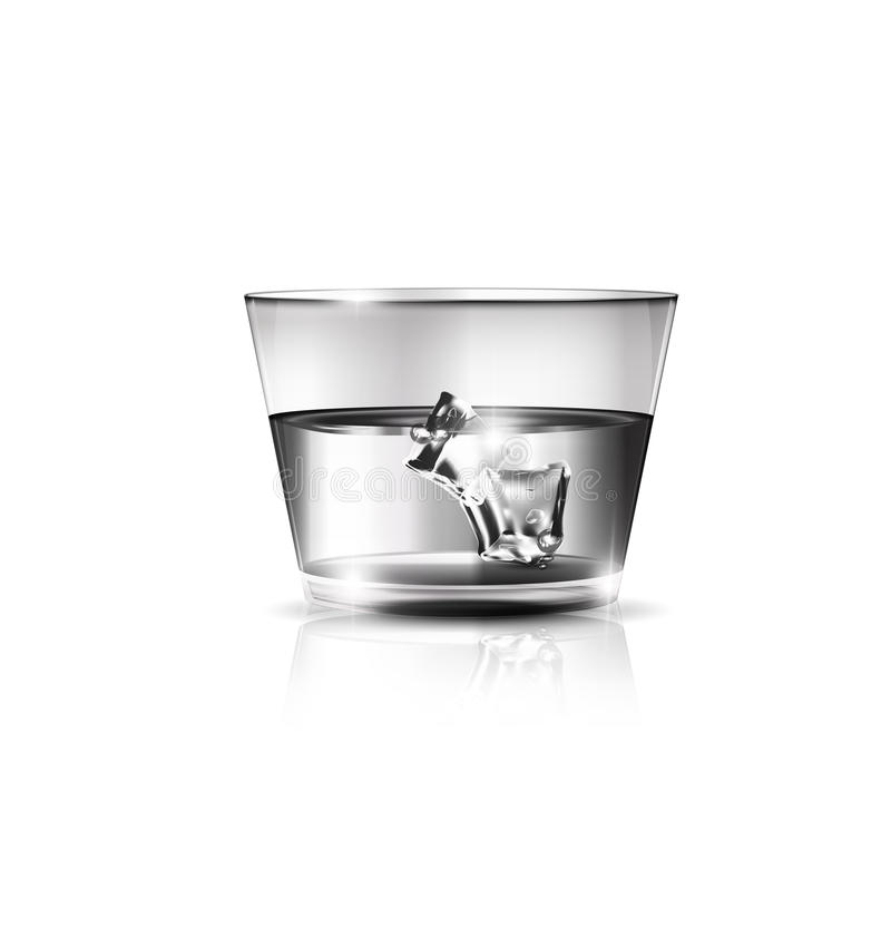 White glass and ice. White background, the large glass of strong alkoholic drink or water and ice cubes inside royalty free illustration