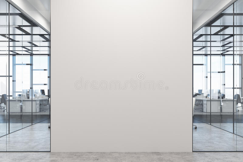 White and glass office, white wall royalty free illustration