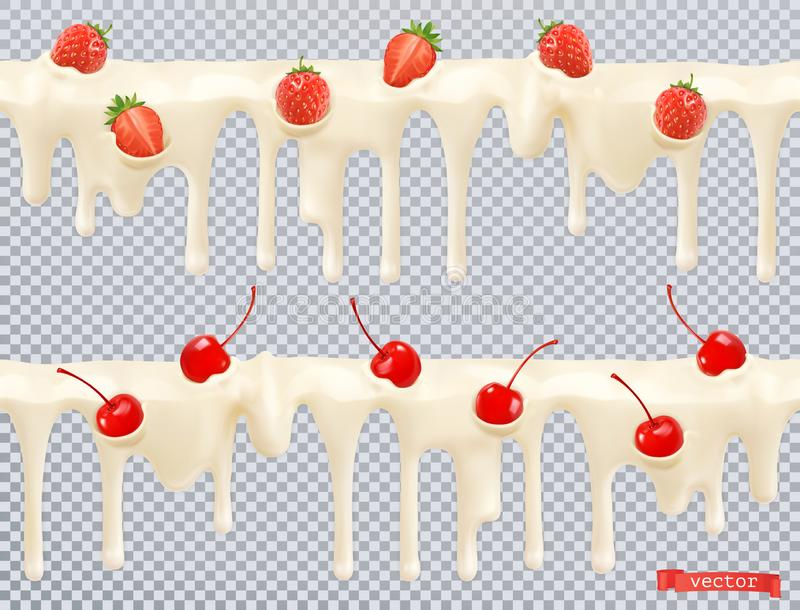 White glaze. Sweet cream with cherry, strawberry. Seamless pattern. 3d vector royalty free stock image