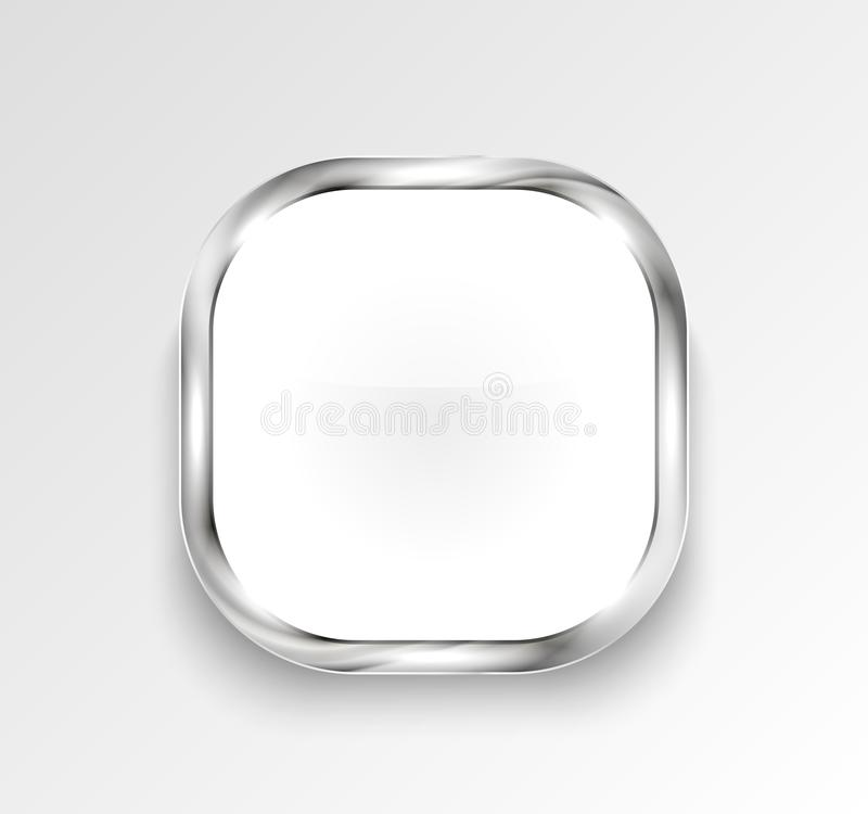 White glossy button or banner. Vector illustration. royalty free illustration