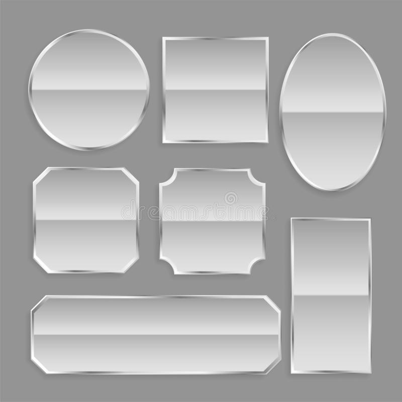 White glossy metal frame buttons with reflection stock illustration