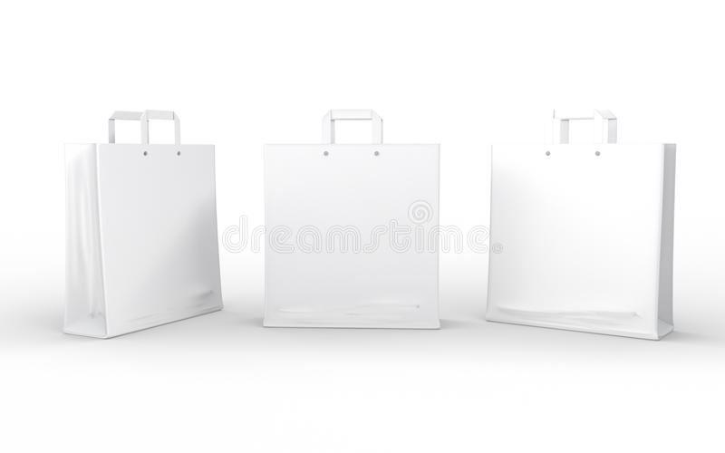White glossy paper bag isolated on white with clipping path. White glossy paper bags isolated on white with clipping path stock illustration