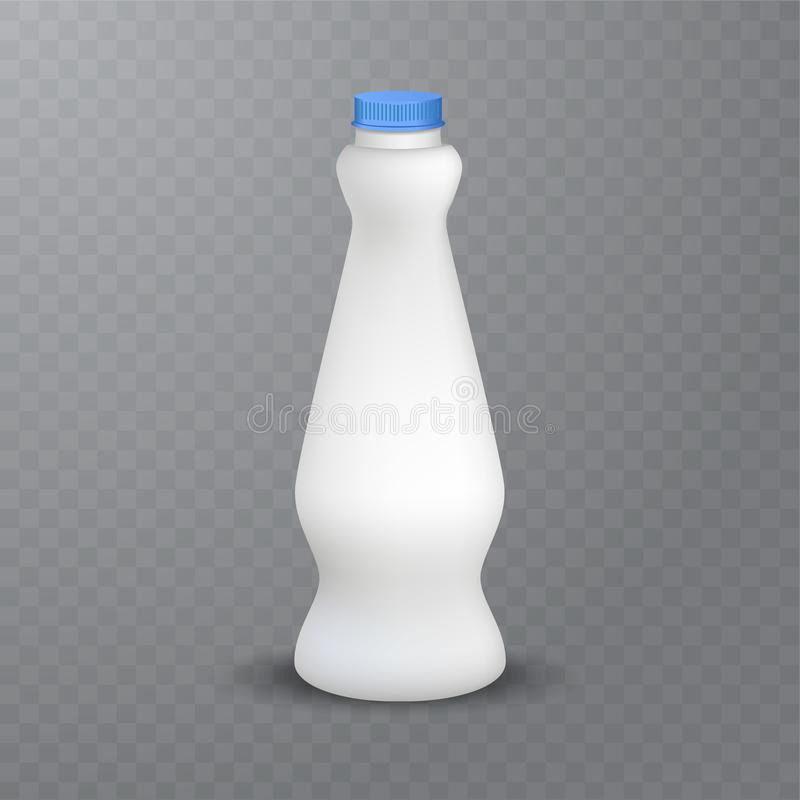 White glossy plastic bottle with cap for dairy products milk, drink yogurt, cream, dessert. Realistic packaging. Vector illustration of White glossy plastic royalty free illustration