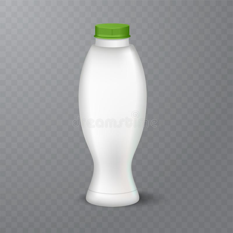 White glossy plastic bottle with cap for dairy products milk, drink yogurt, cream, dessert. Realistic packaging. Vector illustration of White glossy plastic stock illustration