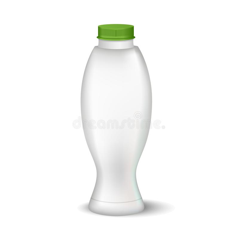 White glossy plastic bottle with cap for dairy products milk, drink yogurt, cream, dessert. Realistic packaging. Vector illustration of White glossy plastic vector illustration