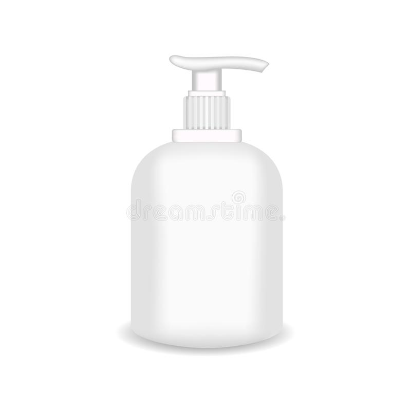 White glossy plastic bottle for shampoo, shower gel, lotion, body milk, bath foam. Realistic packaging mockup template royalty free illustration