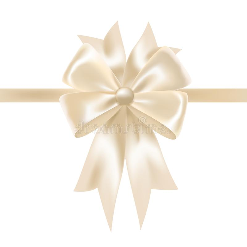 White glossy satin ribbon or tape decorated with bow. Elegant decorative design element. Gorgeous festive shiny silk. Decoration for holiday gift packaging royalty free illustration