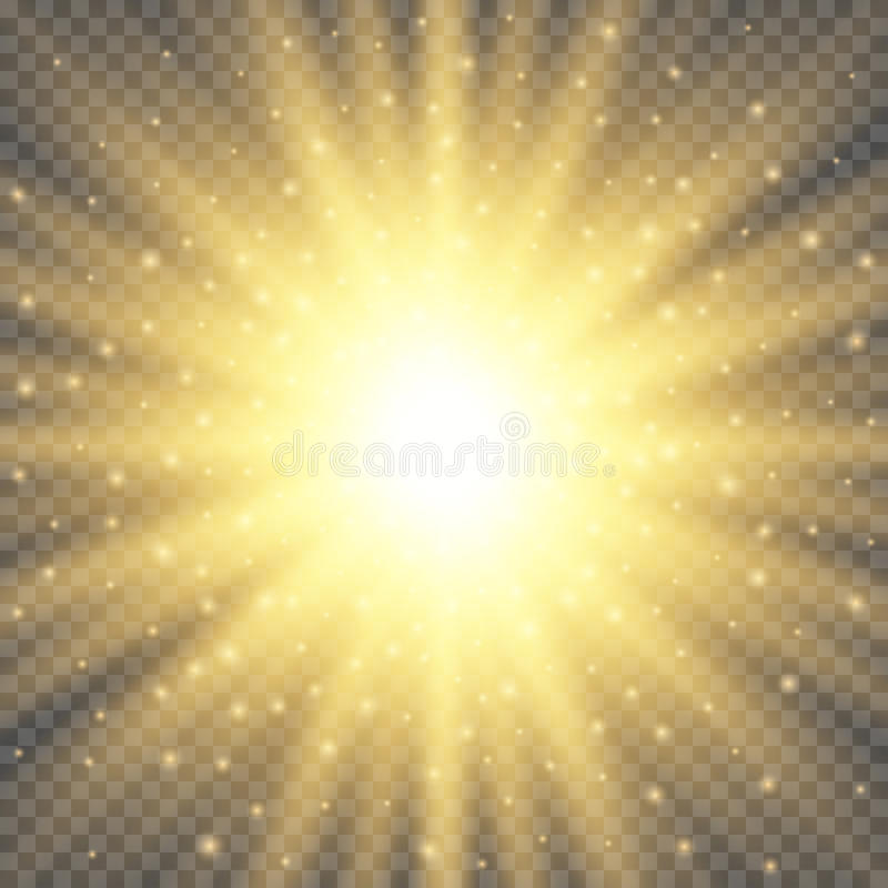 White glowing light burst explosion on transparent background. Bright flare effect decoration with ray sparkles. Gold glowing circle light burst explosion on royalty free illustration