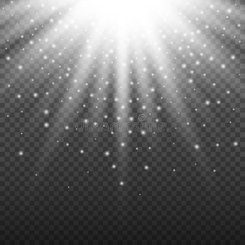 White glowing light burst explosion on transparent background. Bright flare effect decoration with ray sparkles and. Particles. Transparent shine gradient glare stock illustration