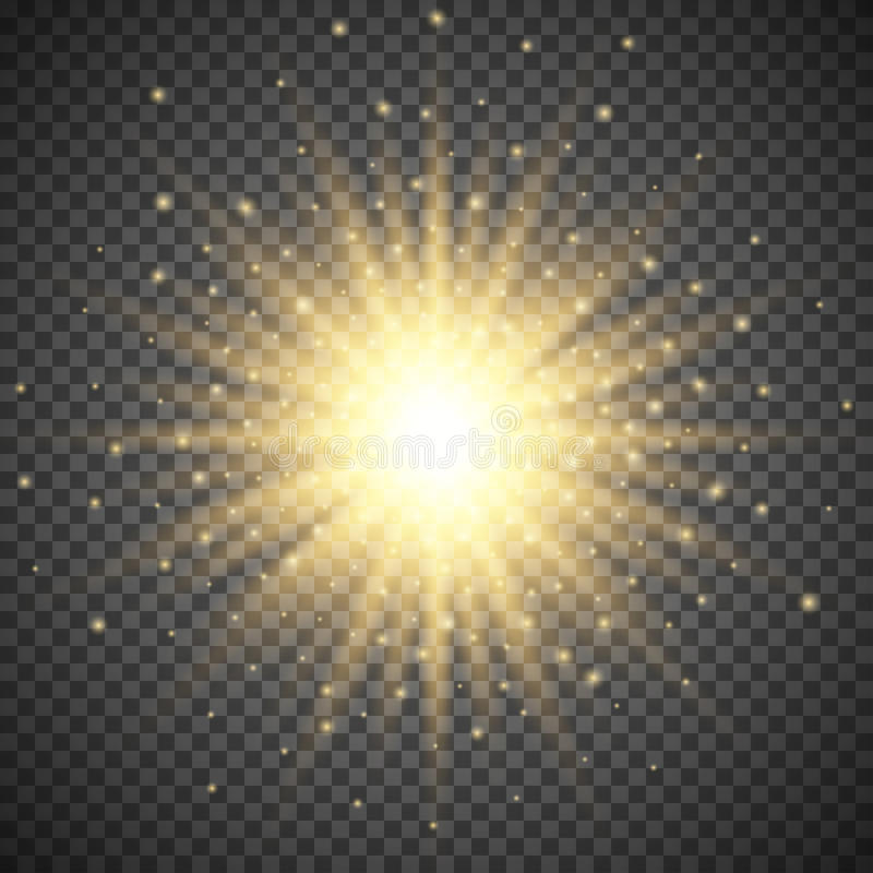 White glowing light burst explosion on transparent background. Bright flare effect decoration with ray sparkles royalty free illustration