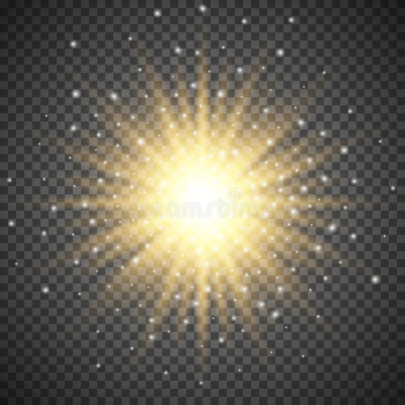 White glowing light burst explosion on transparent background. Bright flare effect decoration with ray sparkles. Transparent shine gradient glare texture vector illustration
