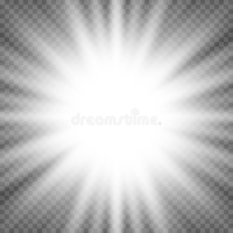 White glowing light burst explosion on transparent background. Bright flare effect decoration with ray sparkles. Transparent shine gradient glare texture royalty free illustration