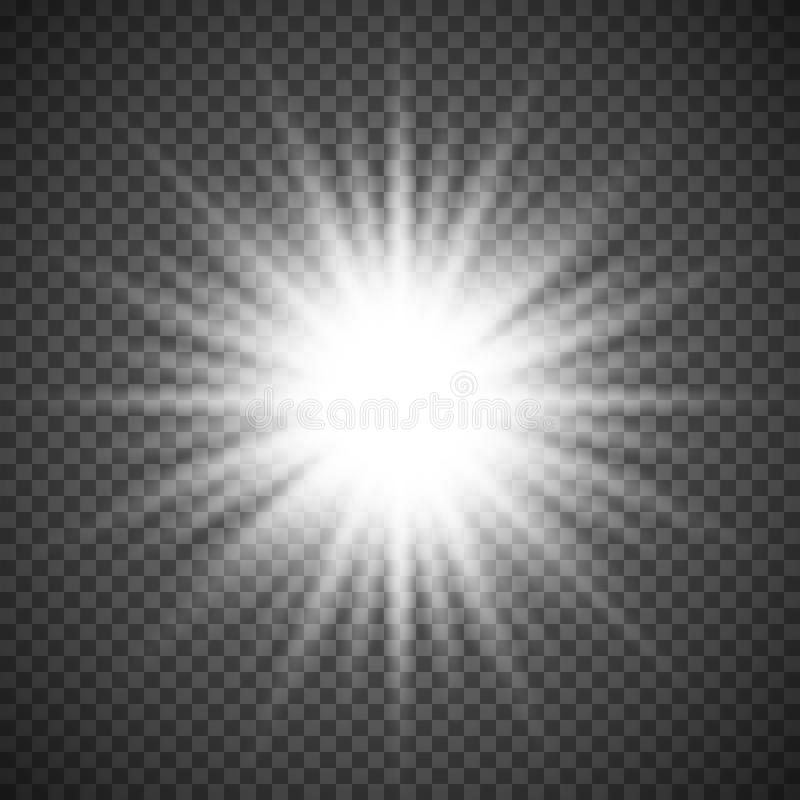 White glowing light burst explosion on transparent background. Bright flare effect decoration with ray sparkles stock illustration