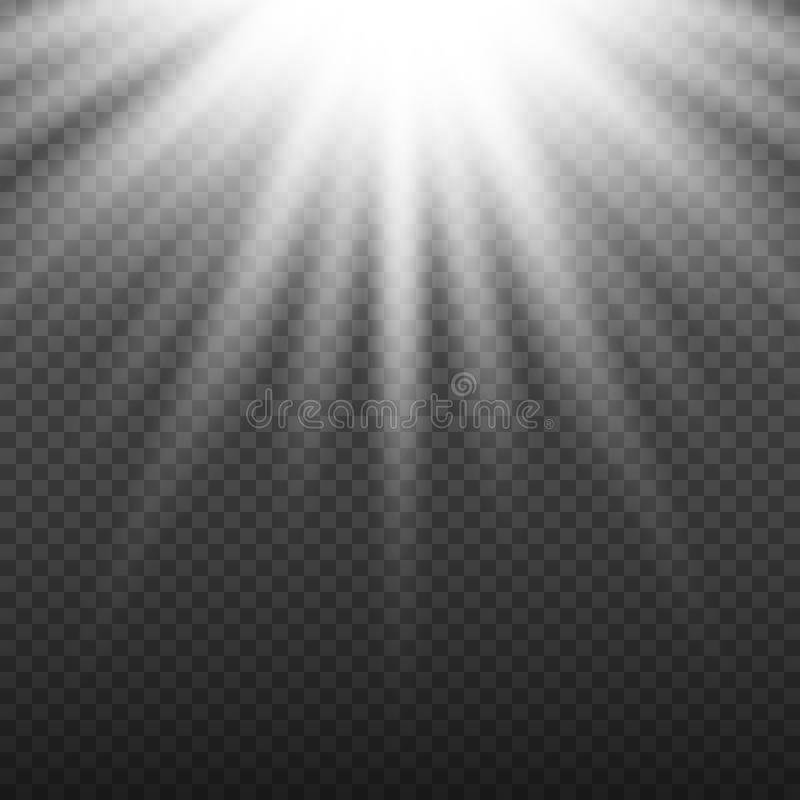 White glowing light burst explosion on transparent background. Bright flare effect decoration with ray sparkles. Transparent shine gradient glare texture stock illustration