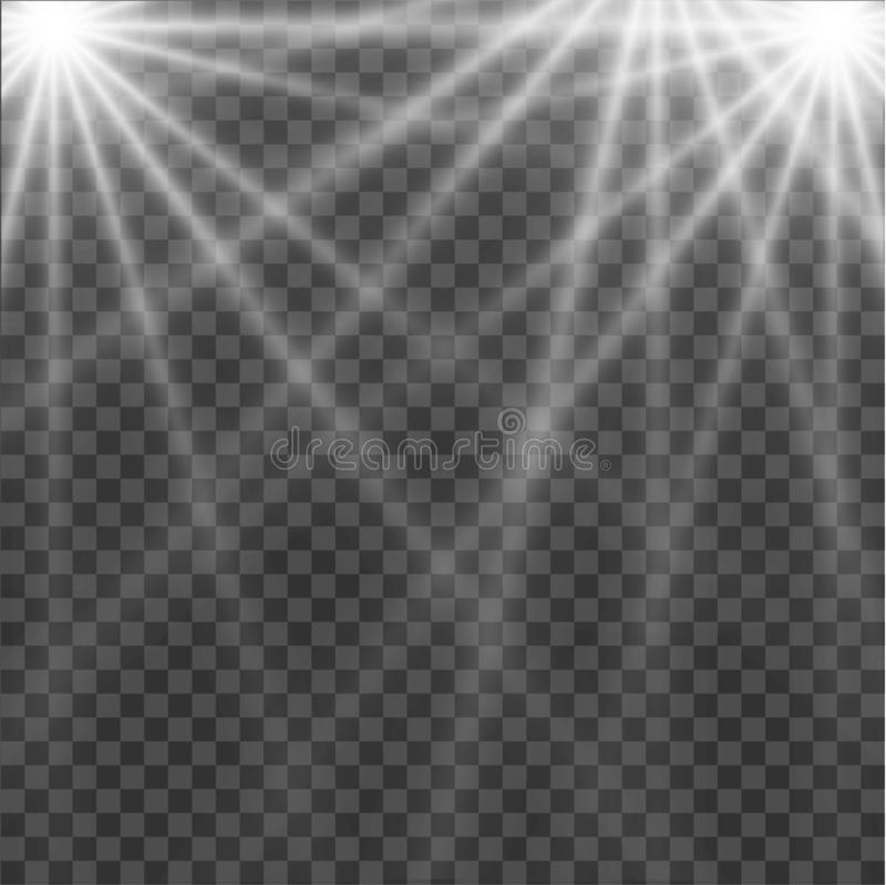White glowing light burst explosion with transparent. Vector illustration for cool effect decoration with ray sparkles. Bright royalty free illustration