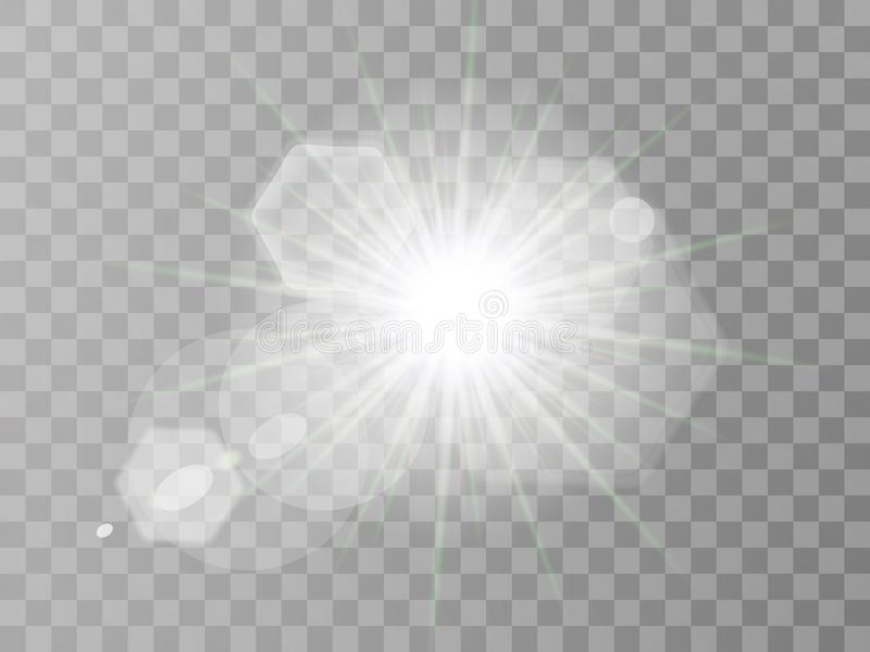 White glowing light burst explosion with transparent. Vector illustration for cool effect decoration with ray sparkles Bright star stock illustration