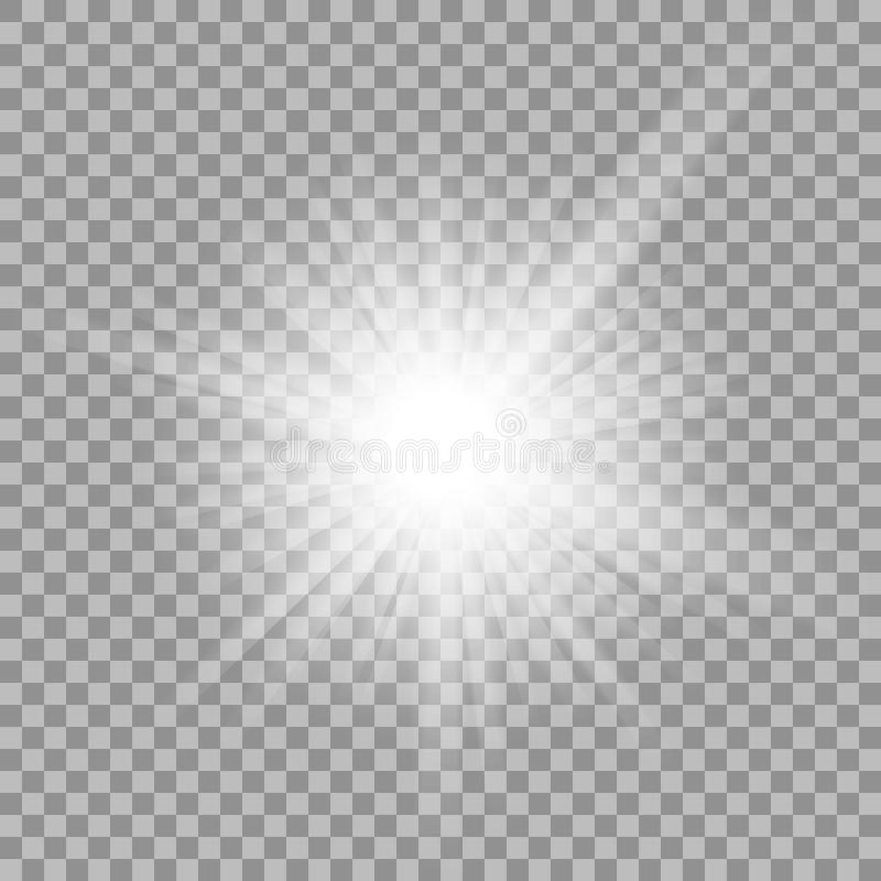 White glowing light burst on transparent background. vector illustration