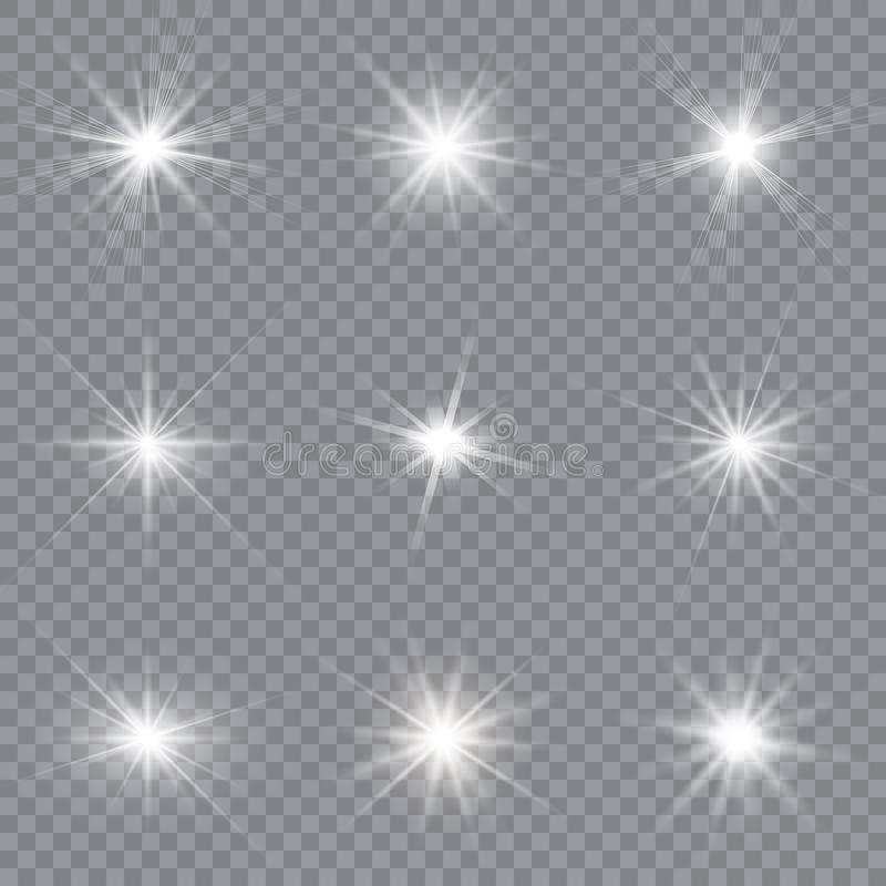 White glowing light explodes on a transparent background. Sparkling magical dust particles. Bright Star. stock illustration