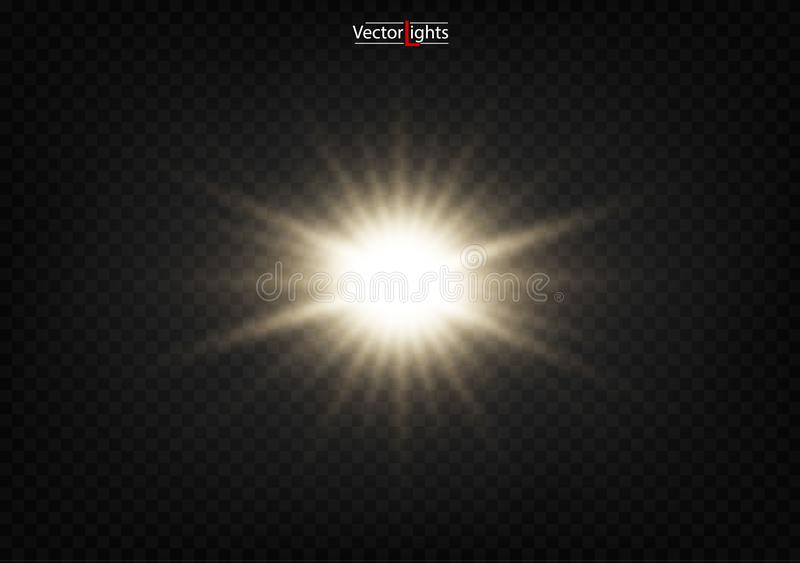 White glowing light explodes on a transparent background. vector illustration