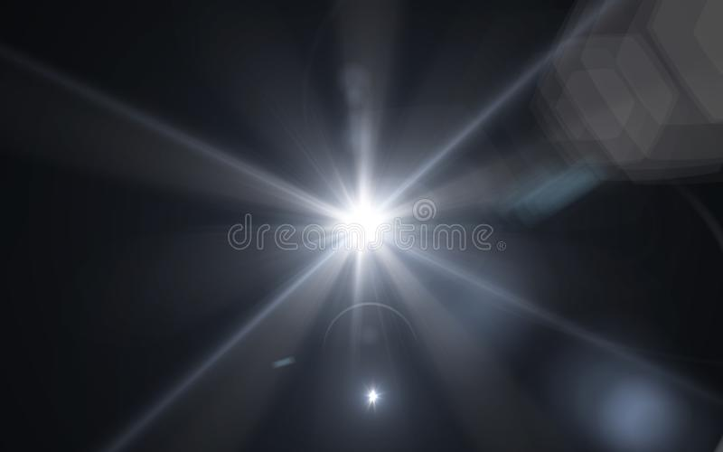 White glowing light glitter background effect.digital lens flare with bright light in black. Background stock illustration