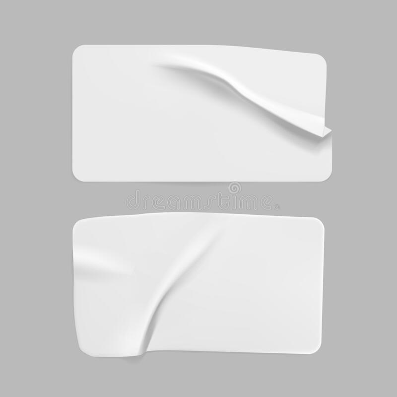 Free White Glued Crumpled Rectangle Stickers Mock Up Set. Blank White Adhesive Paper Or Plastic Sticker Label With Wrinkled Royalty Free Stock Photography - 199473927
