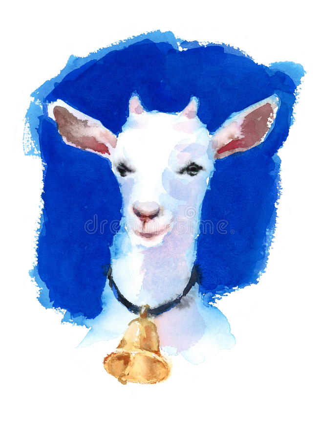White Goat Wearing a Bell Watercolor Hand Painted Farm Animals Illustration on bright blue background stock illustration