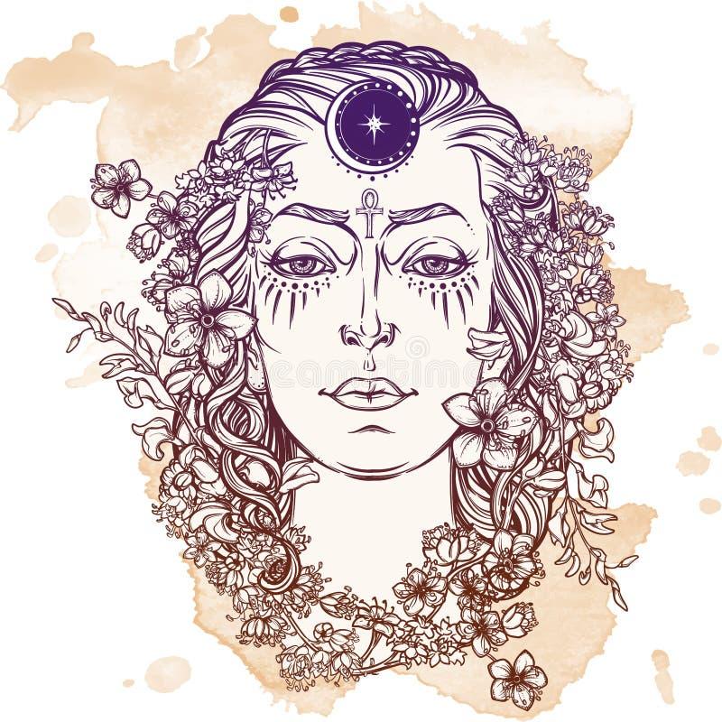 White Goddess Sketch On A Grunge Background Stock Vector