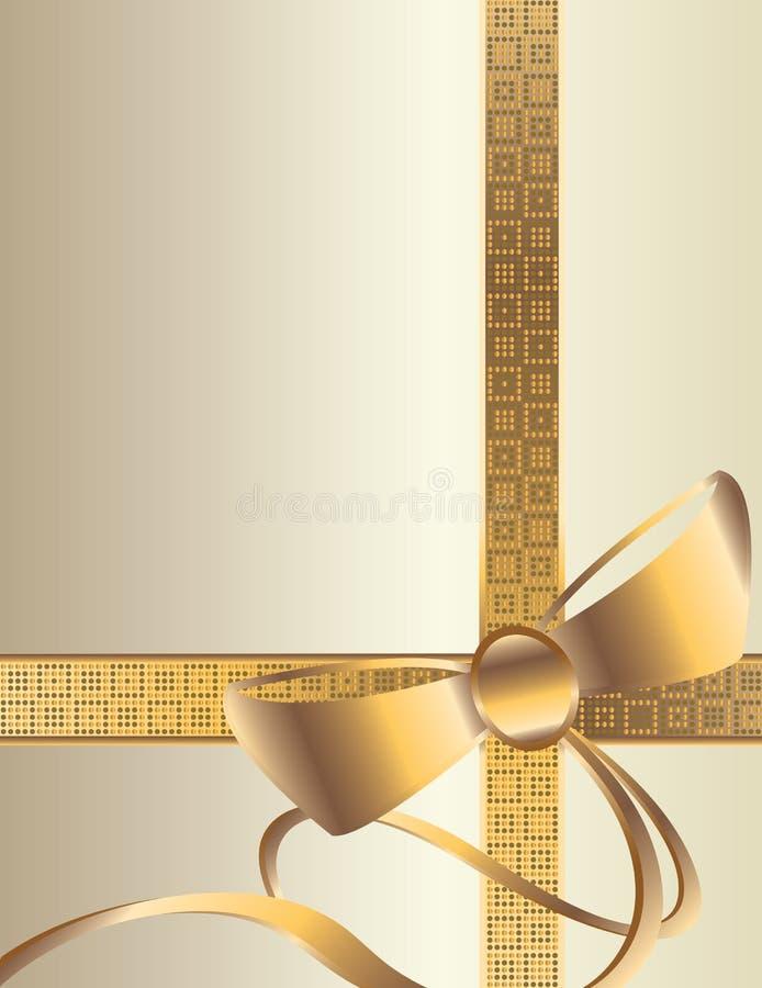White gold bow background vector illustration