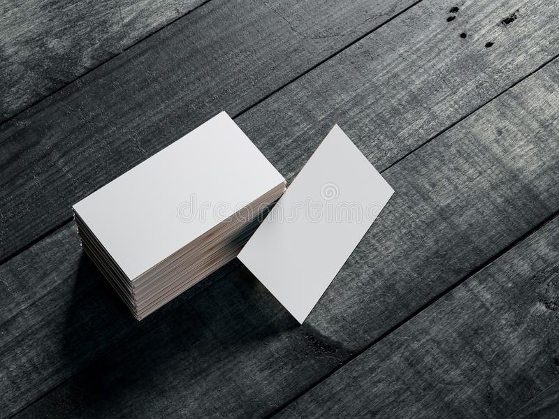 White with gold Business card Mockup on black wooden table vector illustration